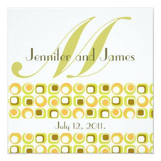 Retro Monogramm-Hochzeits-Einladungs-Rosa-Orange Quadratische 13,3 Cm Einladungskarte