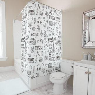 Retro Musik-Ikonen-Gekritzel-Muster-Duschvorhang Duschvorhang