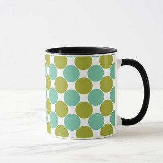 Retro Olive und grüne Punkte Tasse