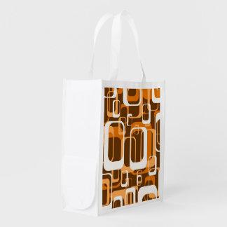 Retro Orange des Musters 1971 Einkaufstasche