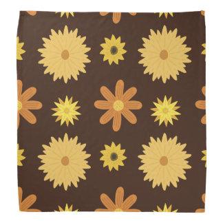Retro orange Gelb-Blumenmuster Siebzigerjahre Halstuch