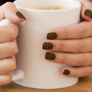 Retro orange und grünes Blumen Minx Nagelkunst