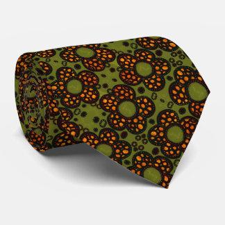 Retro orange und grünes Blumenmuster Krawatten
