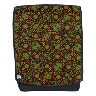 Retro orange und grünes Blumenmuster Rucksack
