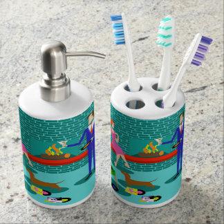 Retro Paare mit Hundebad-Set Seifenspender & Zahnbürstenhalter