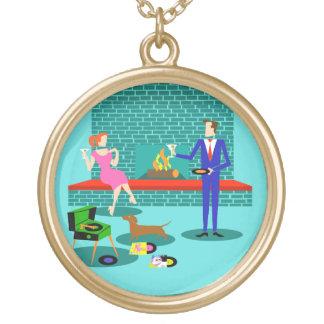 Retro Paare mit Hundehalskette Vergoldete Kette