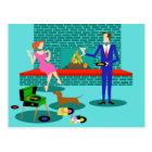 Retro Paare mit Hundepostkarte Postkarte
