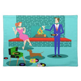 Retro Paare mit Hundestoff-Tischset Tischset