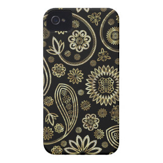 Retro Paisley&Circles - Gold-u. Diamant-Muster iPhone 4 Case-Mate Hüllen
