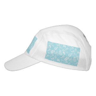 Retro Paisley im aquamarinen Blau Headsweats Kappe
