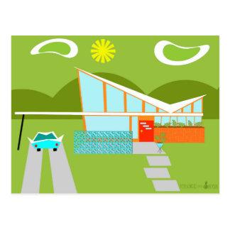 Retro Palm Springs-Haus-Postkarte Postkarte