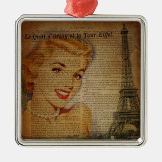 Retro Paris-Button Eiffel-Turms herauf Mädchen Quadratisches Silberfarbenes Ornament