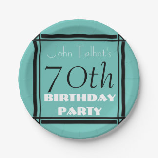 Retro Party-Papierplatte Geburtstag des Feldes 70. Pappteller