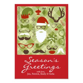 Retro Party-Set - Weihnachtsmann-Bart, Hüte, 12,7 X 17,8 Cm Einladungskarte