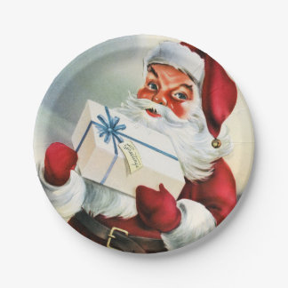Retro Partyplatte Vintages Weihnachtssankt Pappteller