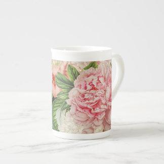 Retro Pfingstrosen-Blumen-Frühlings-Blumenmuster Porzellantasse