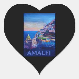 Retro Plakat-Amalfi-Küste Italien Herz-Aufkleber