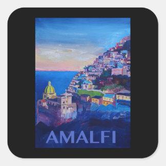 Retro Plakat-Amalfi-Küste Italien Quadratischer Aufkleber