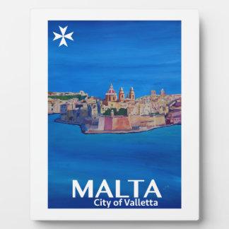 Retro Plakat Malta Valletta - Stadt der Ritter Fotoplatte