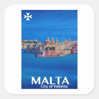 Retro Plakat Malta Valletta - Stadt der Ritter Quadratischer Aufkleber