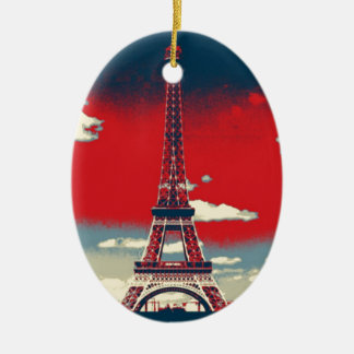 retro Plakat Vintager Turm Frankreichs Paris Keramik Ornament