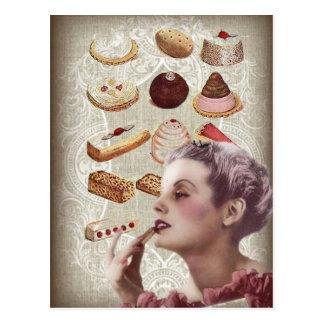 Retro Plätzchen des Pariser Bäckereikuchen-Gebäcks Postkarte