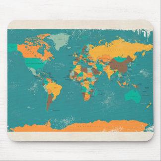 Retro politische Karte der Welt Mousepads