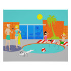 Retro Pool-Party-Plakat Poster