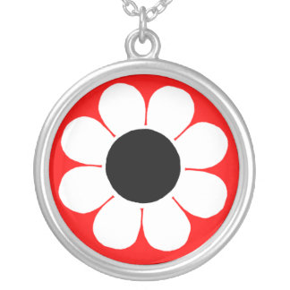 Retro Pop-Blumen-Power-Gänseblümchen Versilberte Kette