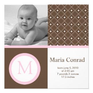 Retro Punkt-Foto-Geburts-Mitteilung Einladung