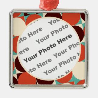 Retro quadratische Foto-Verzierung Quadratisches Silberfarbenes Ornament