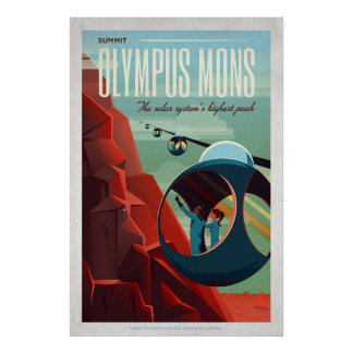 Retro Raum-Tourist Mars-Olymp Mons Poster