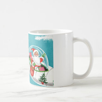 Retro Raumschiff-Sankt-WeihnachtsTasse (Hälfte) Kaffeetasse