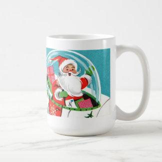 Retro Raumschiff-Sankt-WeihnachtsTasse (volle Kaffeetasse