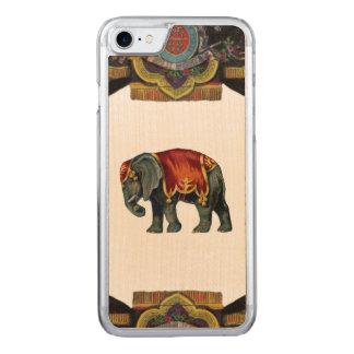 RETRO REBELLENZirkus-Elefant-Holz Carved iPhone 7 Hülle