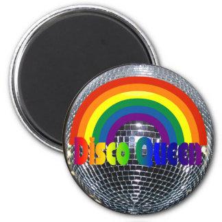 Retro Regenbogen 70er der Disco-Ball-Königin | Runder Magnet 5,7 Cm