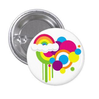 Retro Regenbogen-Knopf (weiß) Runder Button 3,2 Cm