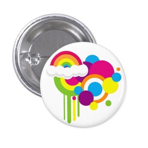 Retro Regenbogen-Knopf (weiß) Anstecknadelbuttons