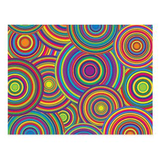 Retro Regenbogen kreist Muster ein Postkarten