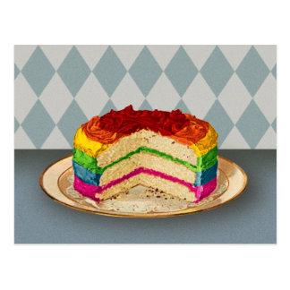 Retro Regenbogen-Kuchen Postkarte