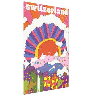 Retro Reiseplakat der Schweiz Leinwanddruck