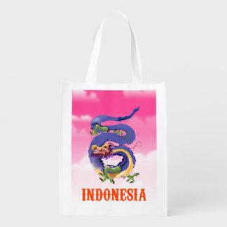 Retro Reiseplakat Indonesien-Drachen Wiederverwendbare Einkaufstasche