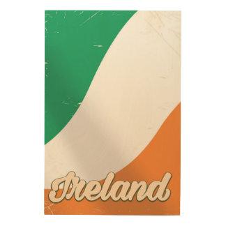 Retro Reiseplakat Irland-Staatsflagge Holzleinwand