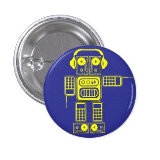 Retro Roboter-(blauer) Flair-Knopf Runder Button 3,2 Cm
