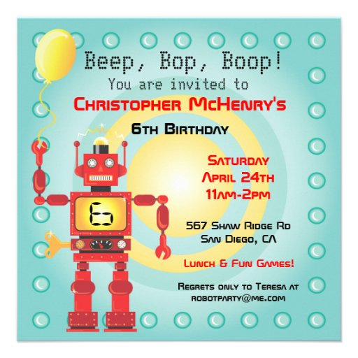 Retro Roboter-Geburtstags-Party Einladungen