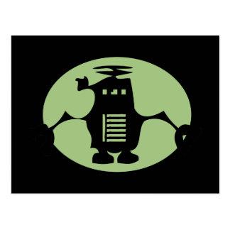 Retro Roboter - grüner Scheinwerfer Postkarten