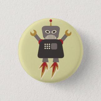 Retro Rocket-Cartoon-Roboter-Flair Runder Button 2,5 Cm