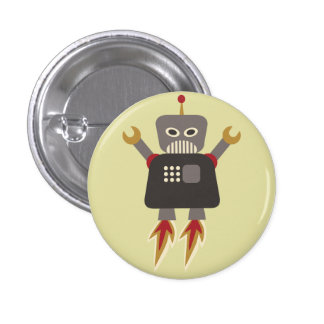 Retro Rocket-Roboter-Flair-Knopf Runder Button 2,5 Cm