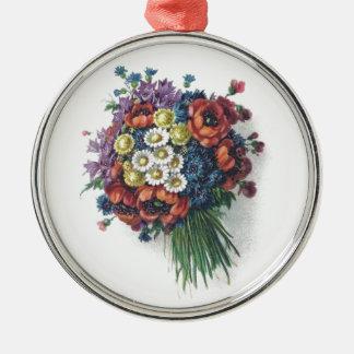 Retro romantischer bunter Vintager Rundes Silberfarbenes Ornament