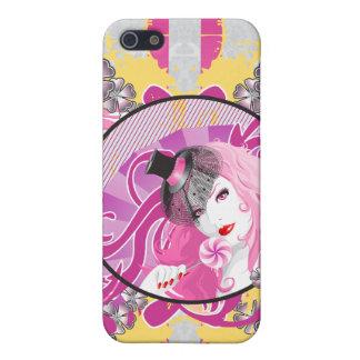 Retro rosa behaartes Mädchen mit Lutscher u. iPhone 5 Hüllen